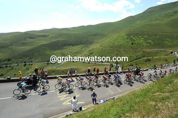 The Astana-led peloton is 45-seconds behind at the summit - but it's a very small peloton..!