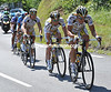 Cavendish has the benefit of Bernhard Eisel to tow him safely into the growing 'bus' that will become 80-strong and lose almost 35-minutes - McEwen makes it across eventually...