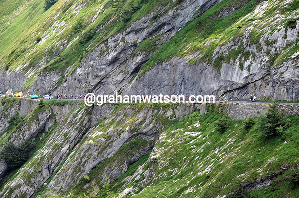 The small peloton climbs the Col d'Aubisque almost nine minutes behind...