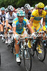 Alexandre Vinokourov seems to be guarding both Schleck and Contador on the Marie-Blanque