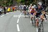 Saxo Bank has taken up the chasing on the valley leading to the Col du Tourmalet - the gap is about two minutes as the climb begins...