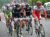 Remi Pauriol and Edvald Boasson Hagen lead an escape away after a few kilometres...