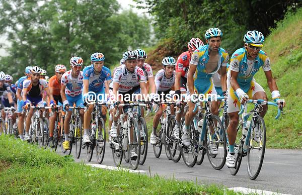 Paolo Tiralongo is the man leading the peloton...