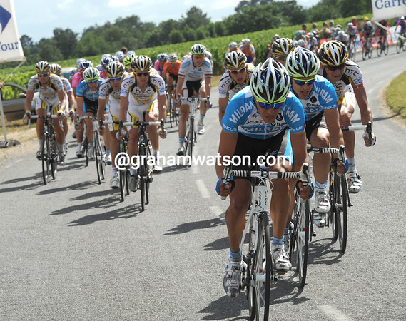 Milram seem to be confident - and they're fast enough to cause the peloton to split in the wind...