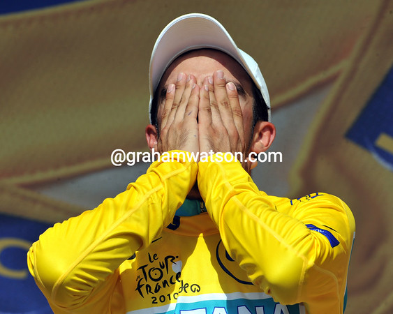 Alberto Contador can afford to cry now, he's as good as won the 2010 Tour de France after a tough time trial contest that sees him end with a 39-seconds advantage over Andy Schleck...