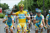 Alberto Contador and Astana make an early celebration with champagne...