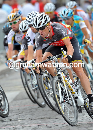 Armstrong is one lap away from finishing his last ever - ever! - Tour de France...