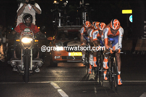 Rabobank were well off their best pace - in 18th place, 36-seconds down...