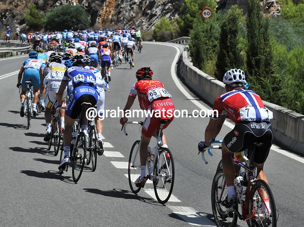 Thor Hushovd is safely at the back of a peloton that has Matthew Goss and Alessandro Petacchi still in it...