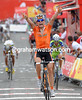 Igor Anton has won stage four after countering a move by Joachin Rodriguez on the steep finish-climb...
