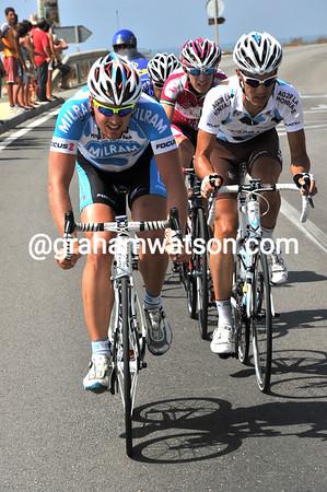 Success - four riders have got away, Roels, Bonnafond, Cataldo and Carrasco...