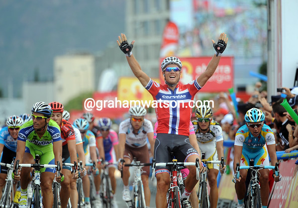 Thor Hushovd wins stage six into Murcia - the Norwegian is the sixth different nationality to win a stage in six days..!