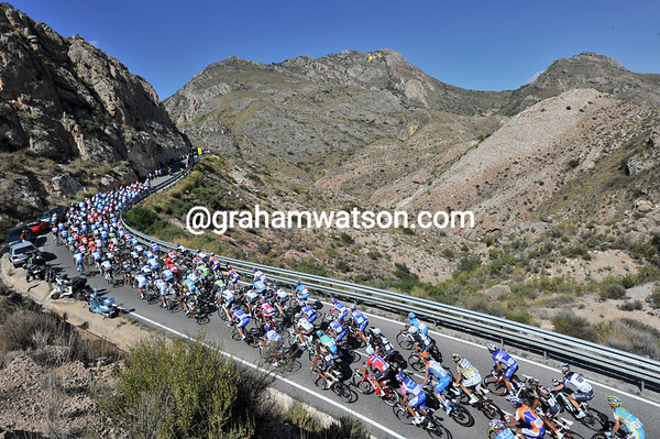 Blue skies prevail as the Vuelta climbs some spectacular hills inland from Alicante...