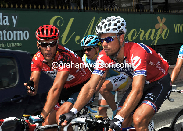 Philippe Gilbert and Thor Hushovd can only be discussing one thing - how to stay awake at such a slow speed..!