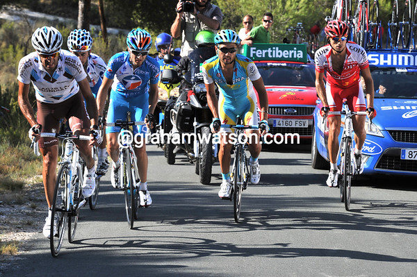 Jose Luis Arrieta leads the escape on to the final, very steep, ascent - they're still likely to win the stage...