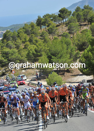 Euskatel lead the peloton on to another climb, with the sea at Benidorm behind them...