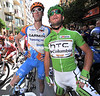 Male models: Millar and Cavendish seem fixated on the horizon before today's start in Calpe...