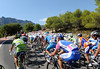 The view from the peloton as the Vuelta climbs the Alto de Confrides...