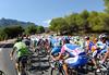 The view from the peloton as the Vuelta climbs the Alto de Confrides...