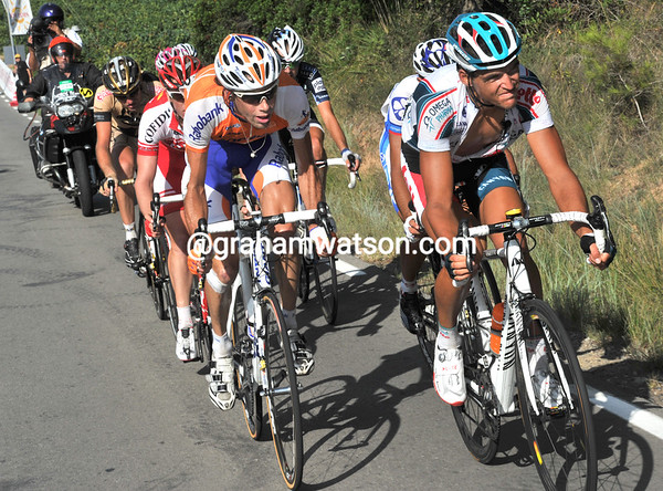 With the Vuelta back on normal roads, Van Avermaet is chasing a lone escaper with 15-kilometres to go...
