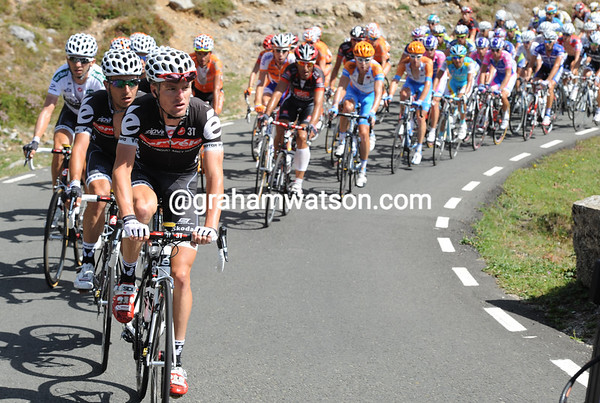 Stefan Deifl leads the way for Cervelo, the gap is shrinking now...