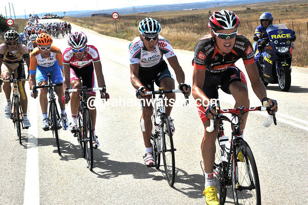 The culprits are Luis Leon Sanchez, Philippe Gilbert and Christian Vande Velde - the peloton is in pieces momentarily...