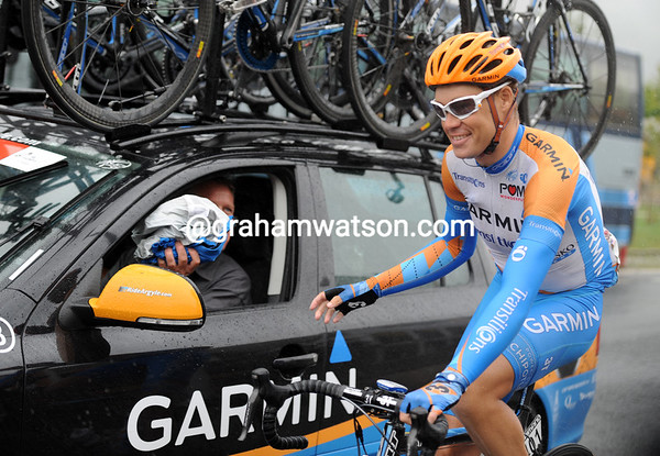 It takes more than a few drops of rain to stop Tom Danielson from smiling...