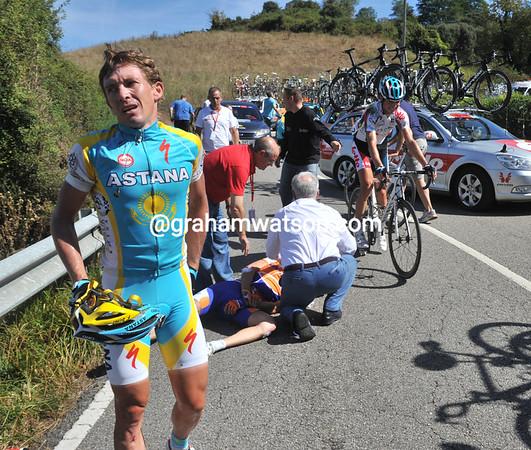 Dmitri Fofonov and Jurgen Van Goolen are injured in the crash but continue...