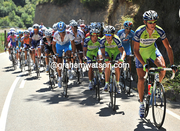 Liquigas look strained as the chasing is led by Kreuziger...