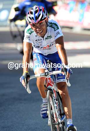 Joaquin Rodriguez crosses the line in fourth place after attacking in the last kilometres...