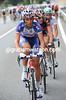 Filippo Pozzato is stretching his pre-worlds legs on the Alto de los Leones, but the peloton soon bring him back...