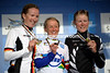 Pooley poses with Arndt and Villumsen on the winner's podium...