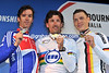 It's a fast podium, with Cancellara, Millar and Martin showing off their medals...