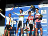 The four-man podium shows Matthews celebrating a much-needed Australian victory in Geelong...
