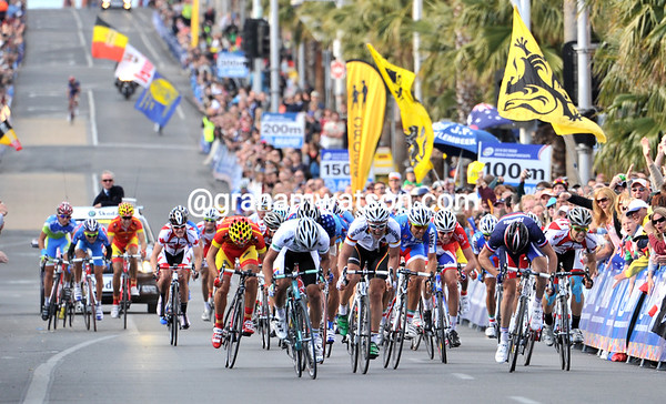 The sprint is between an Australian, a German, and maybe an American...