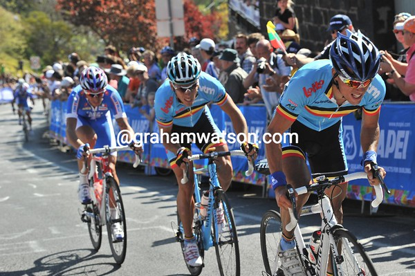 Bjorn Leukemans attacks on the next lap, taking Gilbert and Pozzato with him...