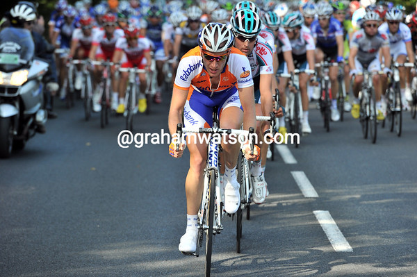 Rabobank are winding up the chase pace now - with about 50-kilometres to go...