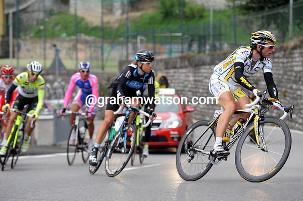 Michele Albasini leads the escape on the Intelvi Pass...