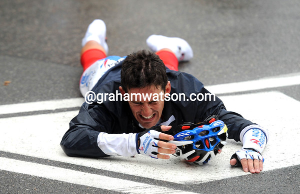 Ouch! Luca Solari is one of many riders falling on slippery roads - but he's okay...