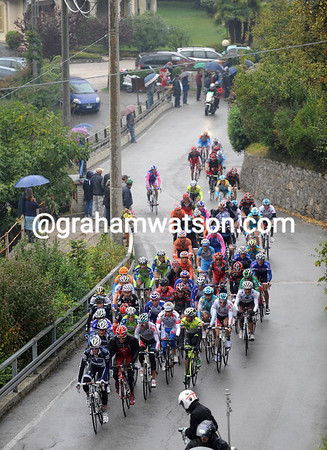 The peloton is starting to split as it starts the Madonna del Ghisallo - and there's been so many crashes today...
