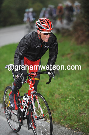 Chris Horner has attacked from the peloton and chases the leaders...