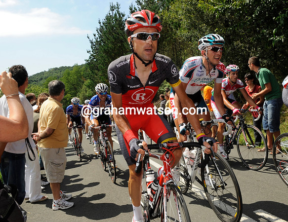 Haimar Zubeldia is in his comeback race from an injury in the Dauphiné-Libéré - the Basque looks determined...