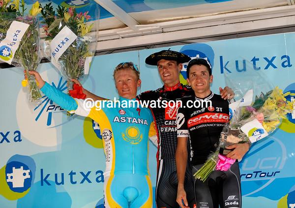 Luis Leon Sanchez shares his winner's podium with Vinokourov and Sastre - now bring on the Vuelta a Espana..!