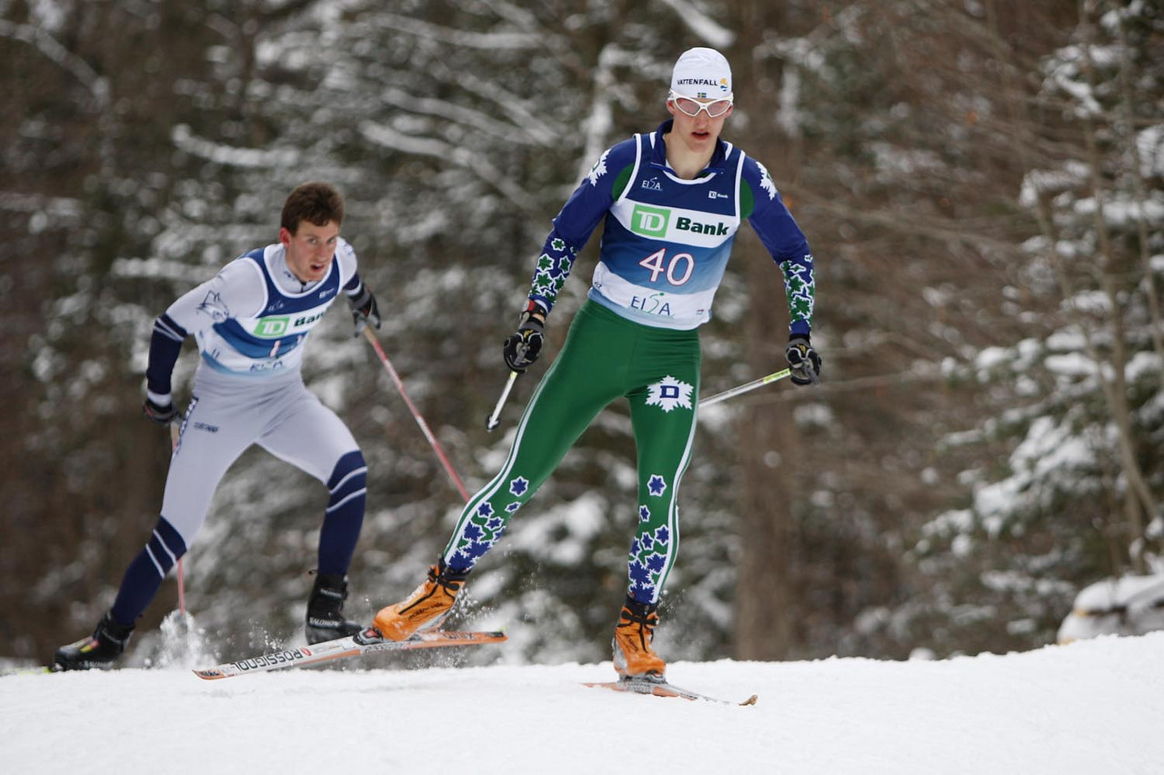 Dartmouth's Eric Packer takes the win in the Men's 10k skate event, held during the Williams Carnival at Prospect Mountain in Bennington, Vermont.<br /> <br /> CREDIT: Lincoln Benedict / EISA