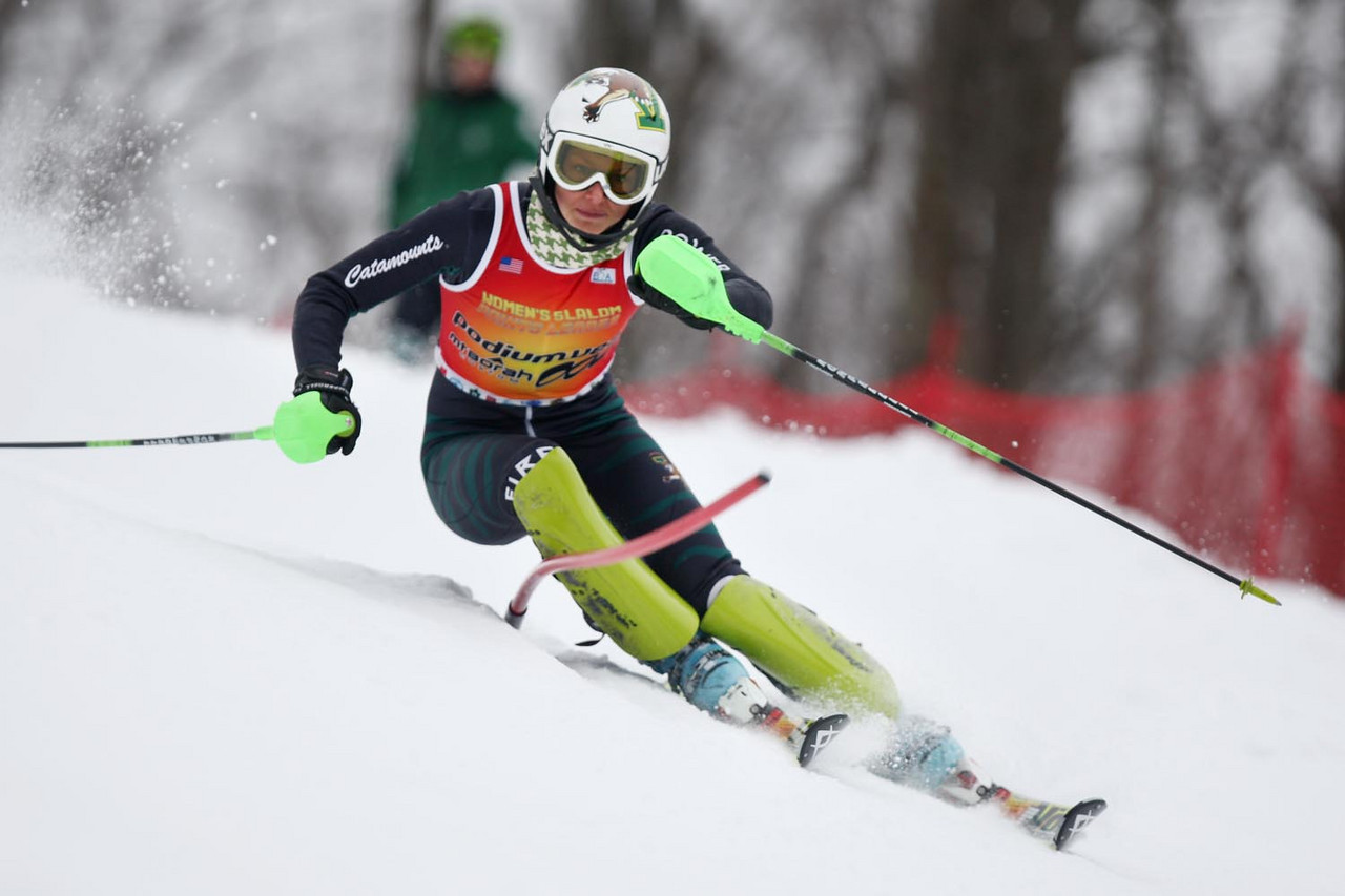 The University of Vermont's Megan Ryley carves her way to victory for the Catamounts at the Williams Carnival Slalom, held at Jiminy Peak in Hancock, MA.