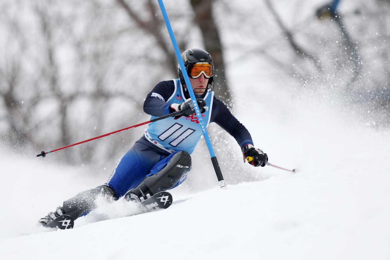 Colby's Josh Kernan shreds his way to victory for the Colby College ski team at the Williams Carnival Slalom, held at Jiminy Peak in Hancock, MA.