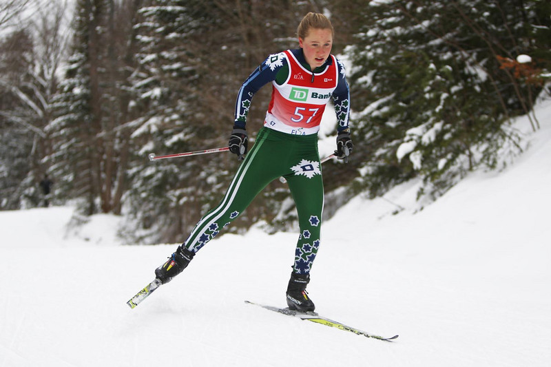 Dartmouth's Ida Sargent takes the win in the Women's 5k skate event, held during the Williams Carnival at Prospect Mountain in Bennington, Vermont.