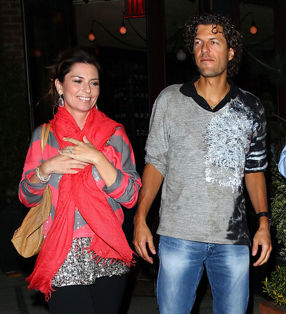 Exclusive<br /> 2011 May 5 - Shania Twain and Frederic Thiebaud are all smiles after having dinner at Locanda Verde in Tribeca, NYC. Photo Credit Jackson Lee