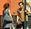 Non-Exclusive <br /> 2011 Aug 22 - First shots of Penn Badgley filming his new movie 'Greetings From Tim Buckley' with Imogen Poots in Brooklyn, NY.  Per IMDB: Greetings from Tim Buckley follows the true story of the days leading up to Jeff Buckley's eminent 1991 performance at his father's tribute concert in St. Ann's Church. Through a romance with a young woman working at the concert, he learns to embrace all of his feelings toward the father who abandoned him - longing, anger, forgiveness, and love. Culminating a cathartic performance of his father's most famous songs, Jeff's debut stuns the audience and launches his career as one of the greatest young musicians of his time.  Photo Credit Jackson Lee