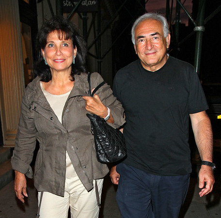Non-Exclusive <br /> 2011 Aug 25 - Dominique Strauss Kahn and wife Anne Sinclair go out for a seafood dinner at Oriental Garden in China Town in NYC. On the way they could not catch a cab for three blocks, which allowed pesky passer bys to ask for photos. Photo Credit Jackson Lee